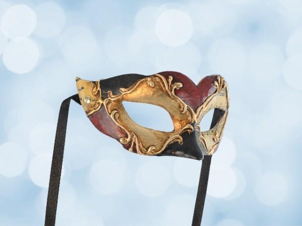 Bal masker voor kinderen, rood-zwart-goud
