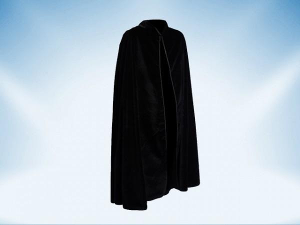 Black velvet cape with collar