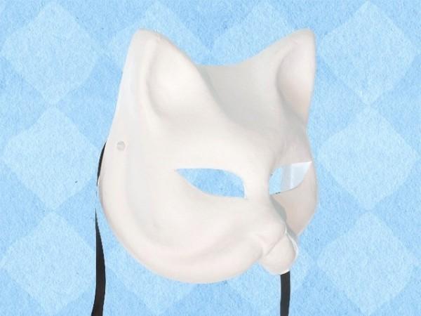 Blanco papier-maché masker van een kat