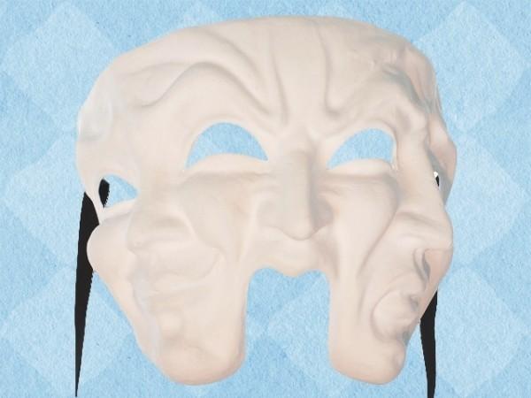 Blanco theatermasker met drie gezichten