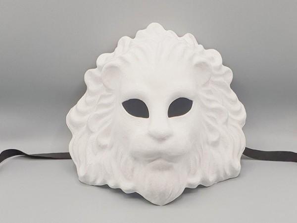 Wit papier-maché masker van een leeuw