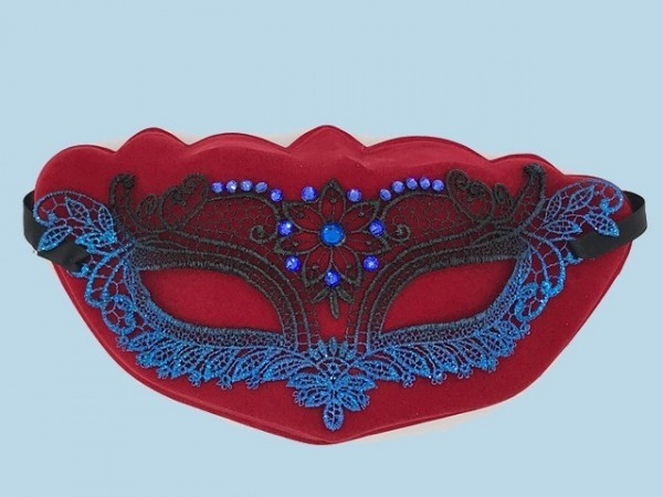 Blue lace mask Merletto with strass