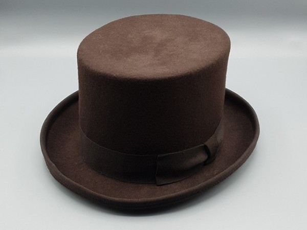 Steampunk hoge hoed, bruin, medium - 58 cm