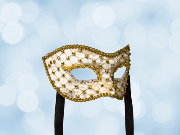 Crème-witfluweel gala masker