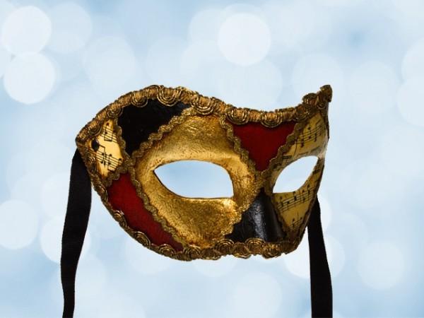 Feest masker met muzieknootjes