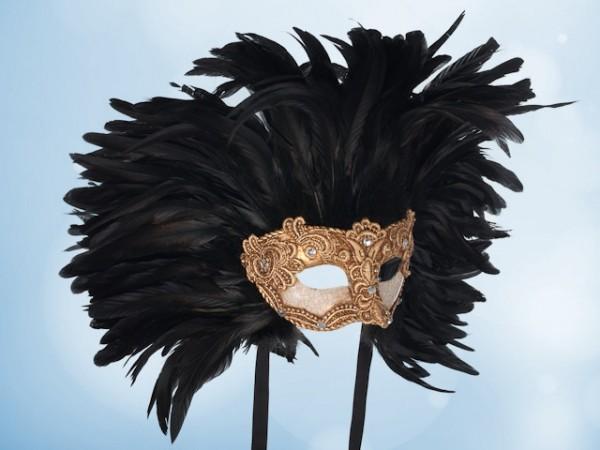 Goud balmasker met zwarte veren voor mannen