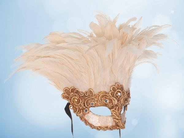 Goud masker met witte veren