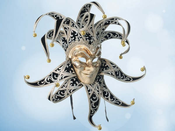 Groot Venetiaans Joker masker in zwart