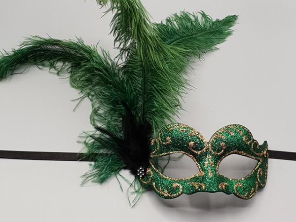 Bal masker met groene verenpluim