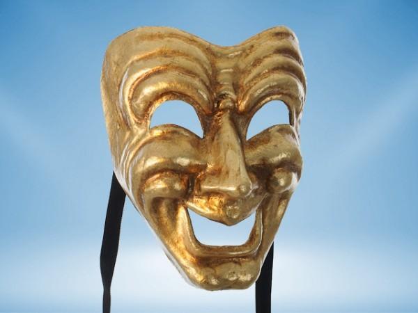 Komedie masker in goud