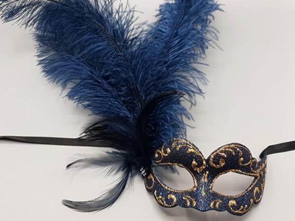 Bal masker met blauwe verenpluim
