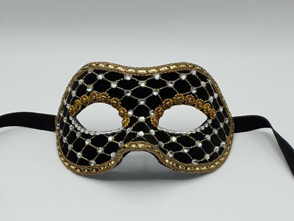 Zwartfluweel gala masker