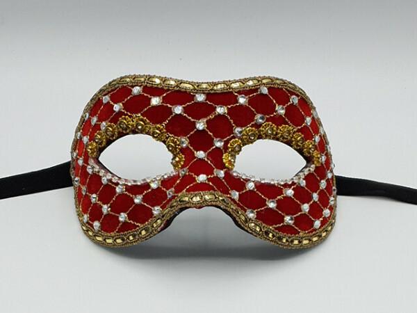 Roodfluweel gala masker