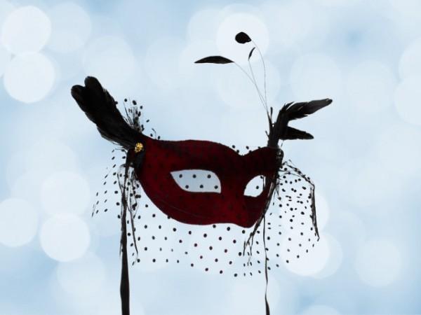 Rood Bal masker met voile