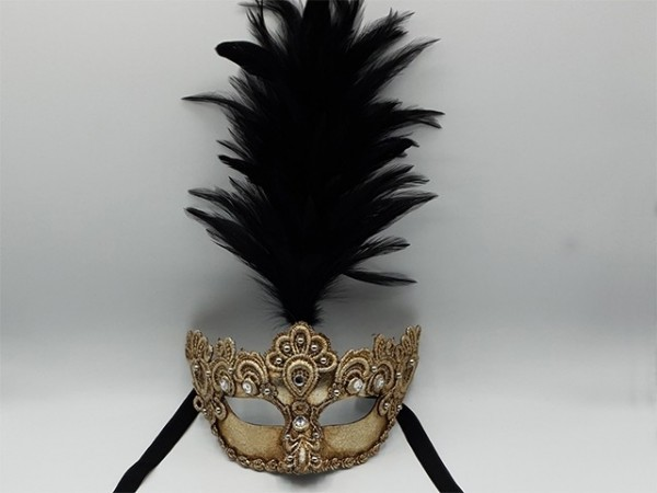 Zilver masker met zwarte veren pluim
