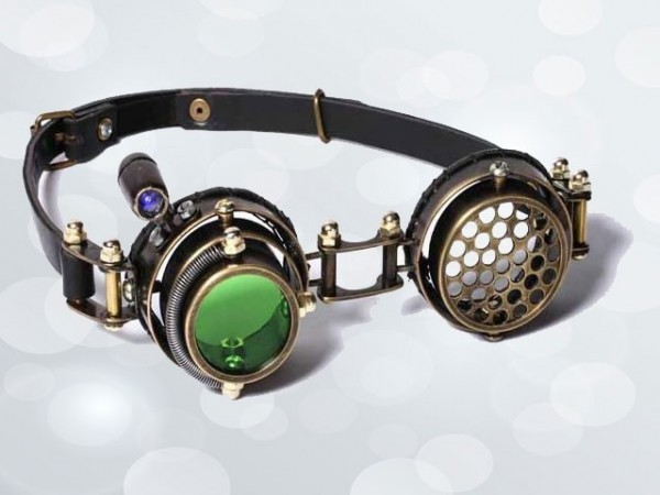 """Steampunk goggles """"LED–zoeker"""""""