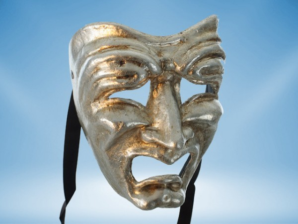 Tragedie masker in zilver