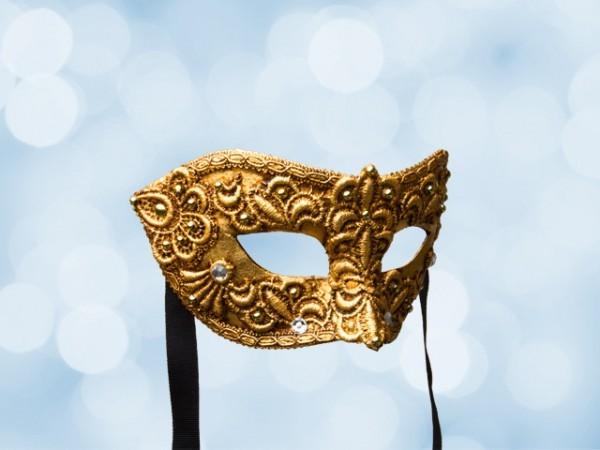 Venetiaans bal masker van verguld kantwerk voor een man