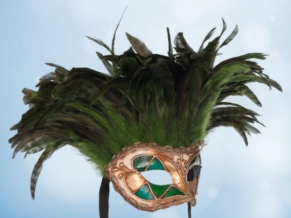 Venetiaans masker met groene veren