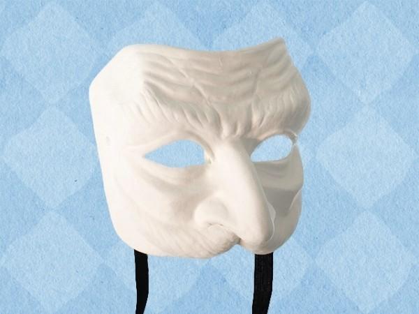 Wit papier-maché masker Pantalone