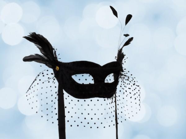 Zwart Bal masker met voile