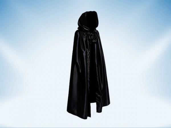 Zwarte cape met capuchon van satijn