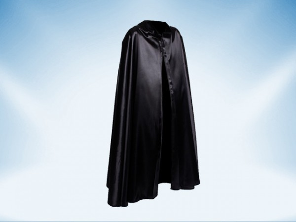 Zwarte cape met kraag van satijn